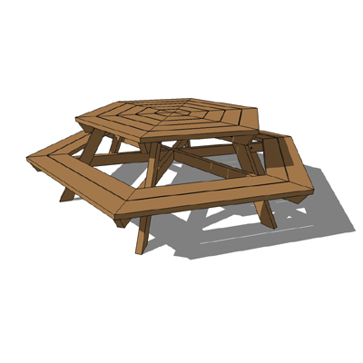 Hexagonal timber picnic table.