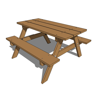 Child sized timber picnic table.