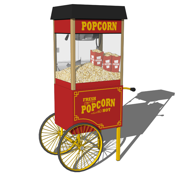 Popcorn machine carts in 4 different configuration....