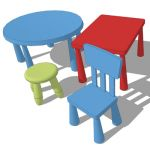 Assortment of Ikea Mammut tables, chair and stool....