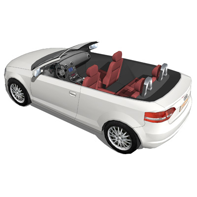 Audi A3 Cabriolet, with and without top..