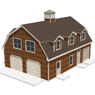 House - shed with a gambrel roof, garage doors and....