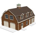 House - shed with a gambrel roof, garage doors and...