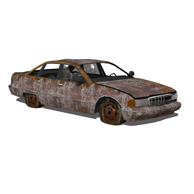 This is a set of very damaged and abandoned cars, ....