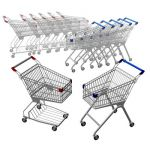 Set of two very low poly shopping carts.