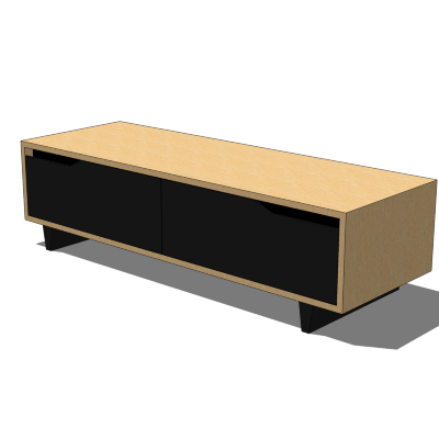 Long, low storage unit from IKEA; part of the Mand....