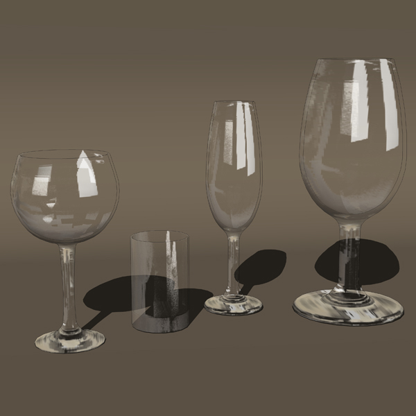 Photorealistic glassware. Autocad model doesn&acut....