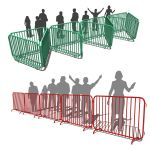 Two different types of crowd control fences.
