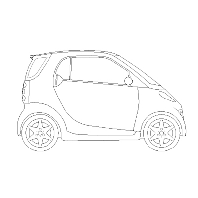 2d drawing of a Smart car - side view.