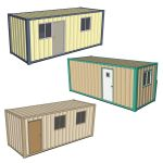 Set of three portable offices with side entry.