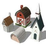 An eclectic collection of bird houses suitable for...