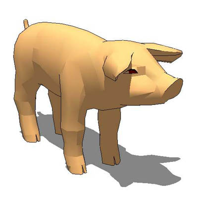 Four variants of low-polygon small pigs..