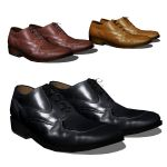 Three pairs of men's shoes, fully textured.