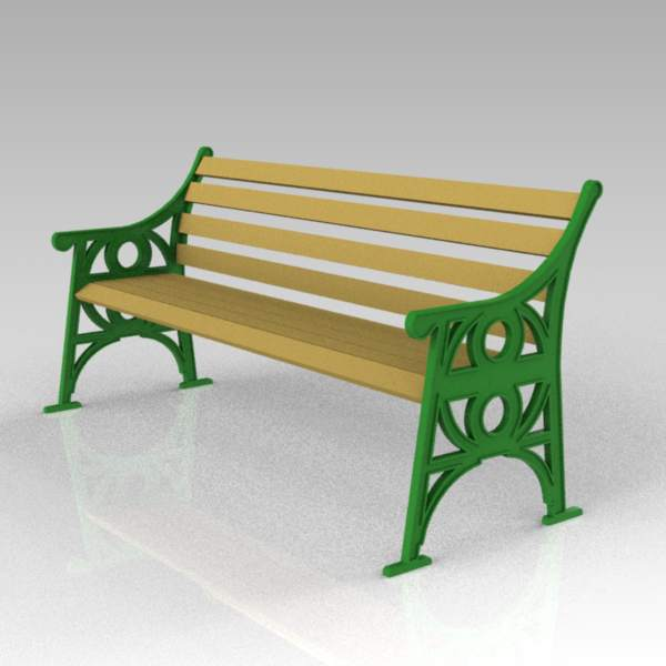 Cast iron park/garden bench; length 6.5ft / 2.1m.