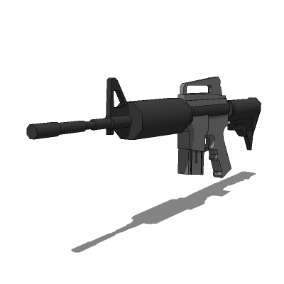 Low polygon M4 carbine in plain and image mapped v....