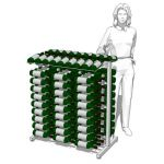 Three Bottle Deep Wine Island Display Rack. Double...