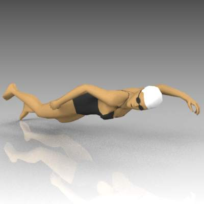 Female competition swimmer. Pose 1.