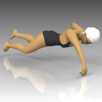 Female competition swimmer. Pose 2.