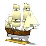 Sailing ship based on Captain Cook's vessel HMB En...
