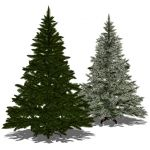 "Two Artificial Christmas Trees (7""/2.1m)"