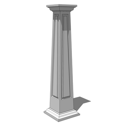 Square, tapered columns, with panelled faces and c....