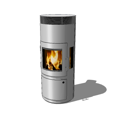 Modern wood stove in stainless steel finish. - Wood Stove 01 3D Model - FormFonts 3D Models & Textures