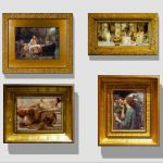 Pre-Raphaelite paintings in 3D heavy gilt frames. ...
