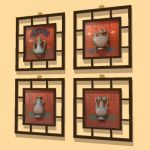 Oriental pottery wall picture