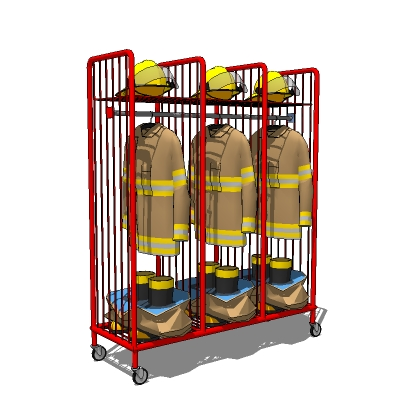 Clothing and equipment rack for Firehouse interior.