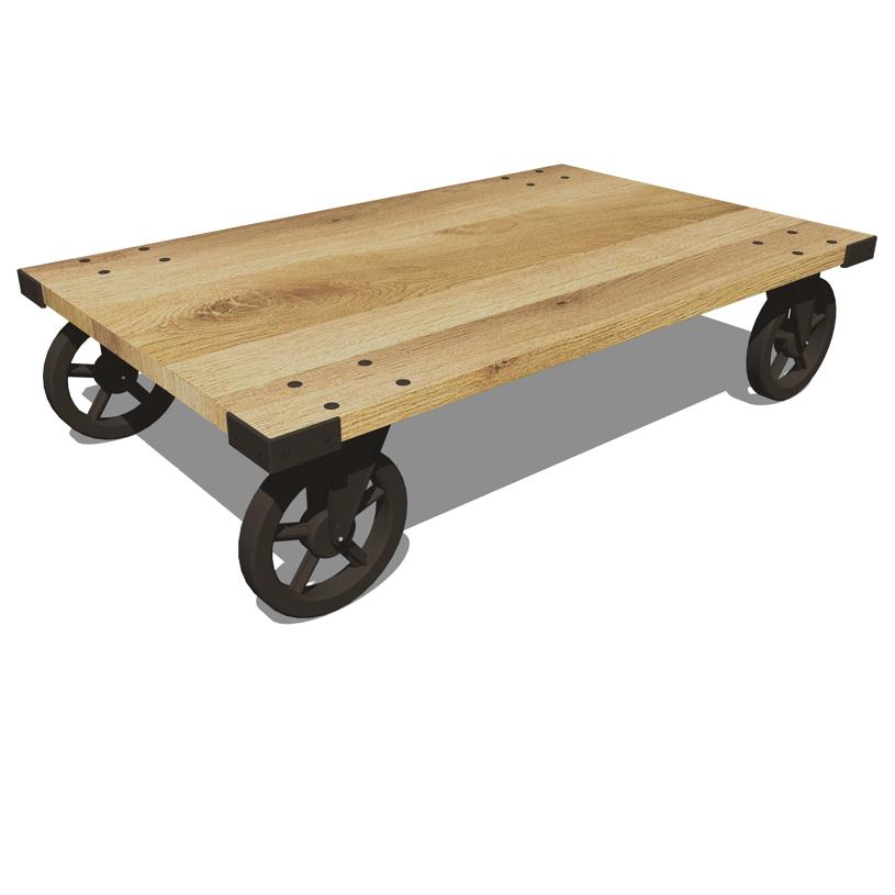 Wheeled Coffee Table by Pottery Barn..