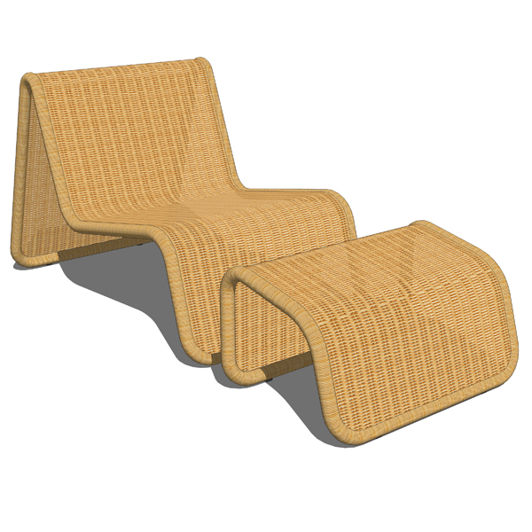 Rattan deck lounge chair and ottoman..
