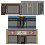 A collection of Deli shop fronts.