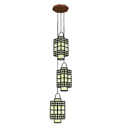 Oriental styled hanging lamp.