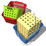 A collection of small plastic storage baskets for ...