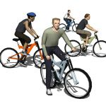 Four low poly bike riders.