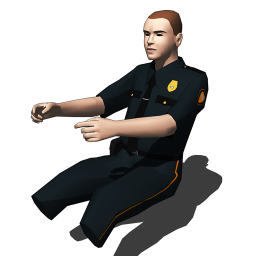 Two low poly US-style policeman figure models..