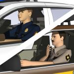 Two low poly US-style policeman figure models.