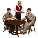 Three men at dinner