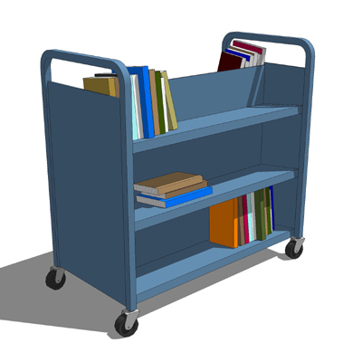 A set of 2 metal library carts complete with books....