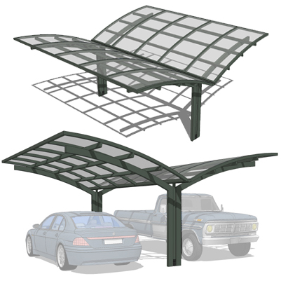 A set of four carports made for two cars..