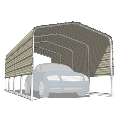 A set of three single spaced carports..