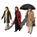 Three women dressed in winter 