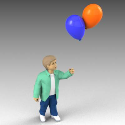 Small boy with balloons.