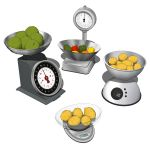 Kitchen Scales with Bowls. Mechanical and digital.