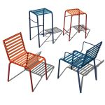 Striped Sedia and Sgabello. Stacking Dining chair,...