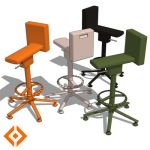 Adjustable height stool and chair. Designed by Kon...