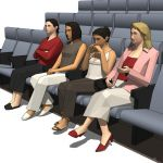Four low-poly models of women 
