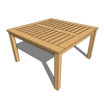 Cedar garden table with umbrella stand.