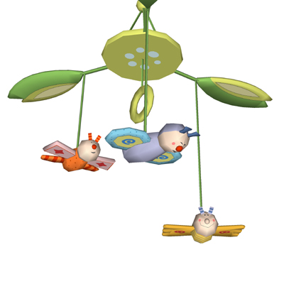 A set of four colorful and playful hanging mobiles....