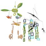 A set of four colorful and playful hanging mobiles...